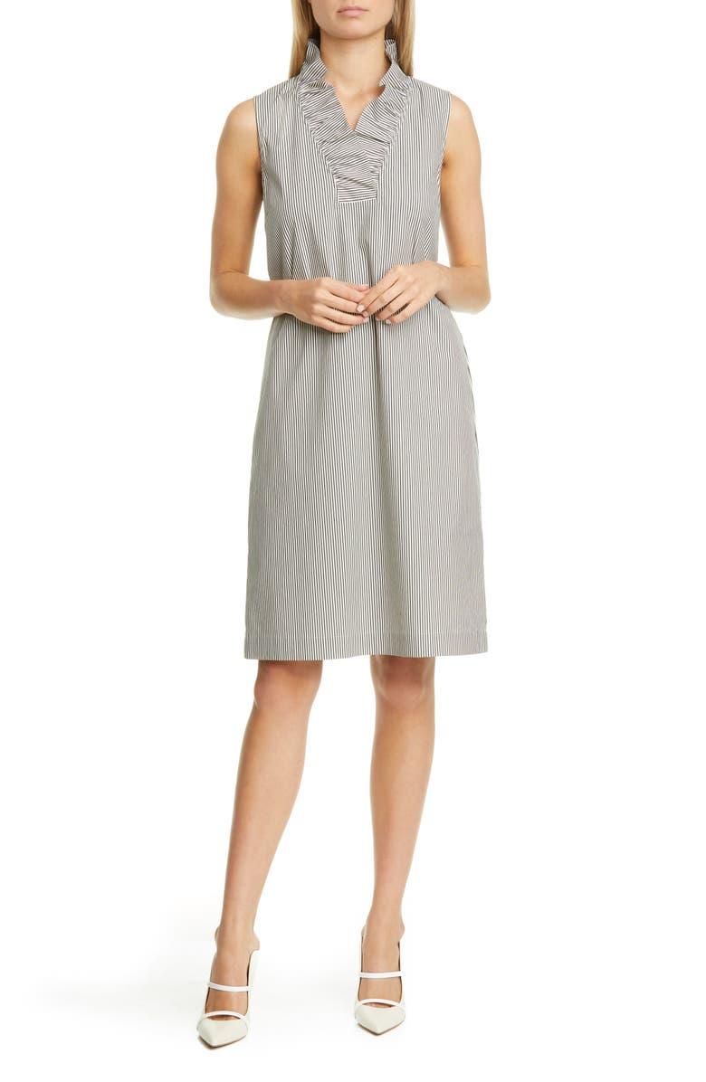 LAFAYETTE 148 NEW YORK Viola Stripe Ruffle Neck Shift Dress, Main, color, BLACK MULTI