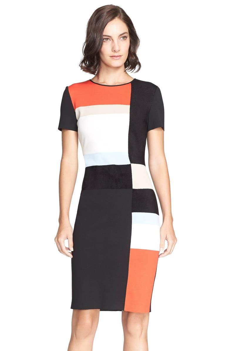 ST. JOHN COLLECTION Colorblock Milano Knit Sheath Dress, Main, color, 001