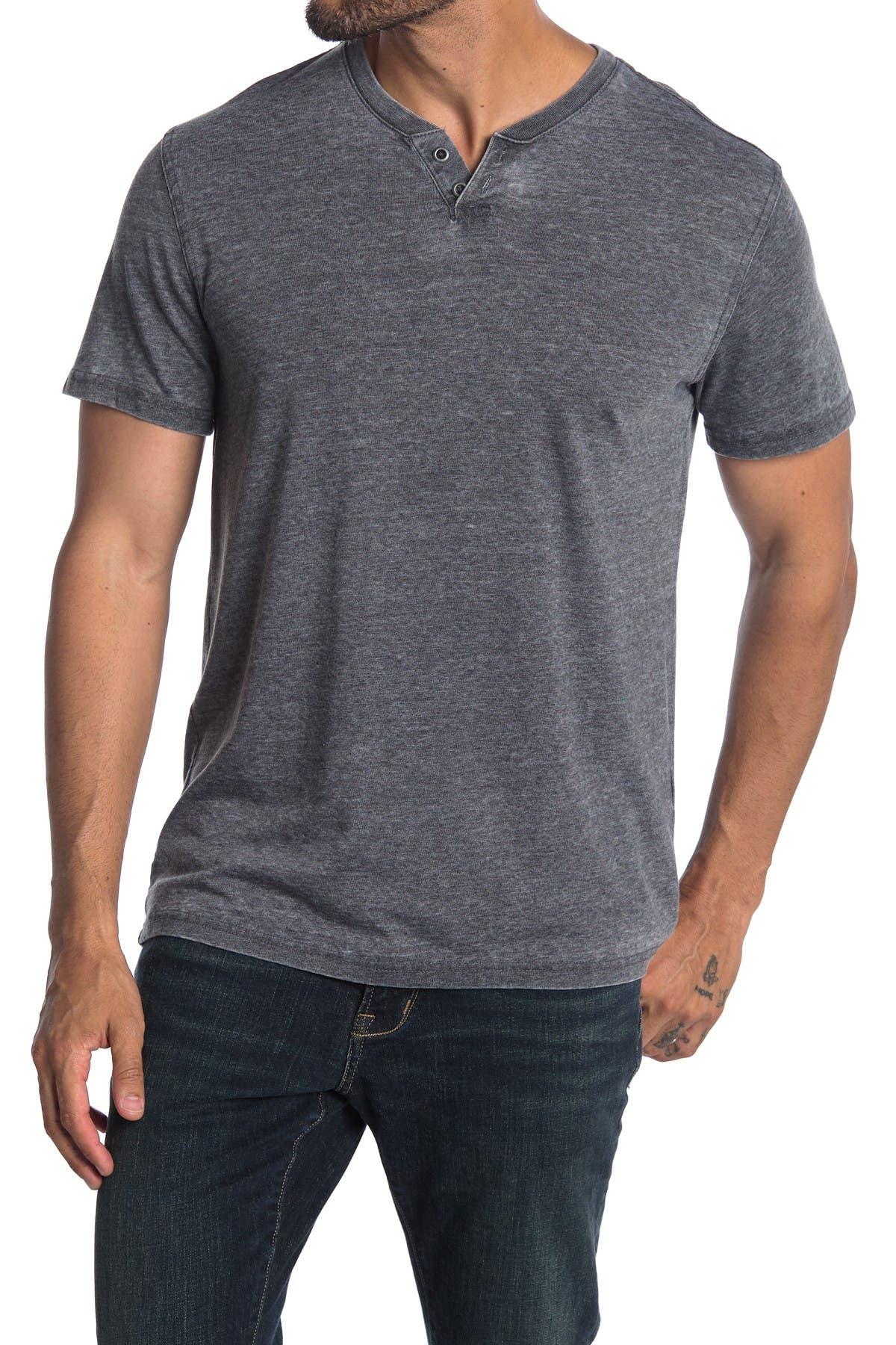 Image of Lucky Brand Short Sleeve Burnout 2 Button Henley T-Shirt
