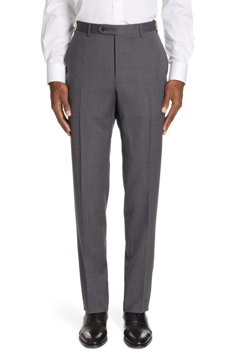 CANALI Flat Front Classic Fit Wool Trousers, Main, color, 020
