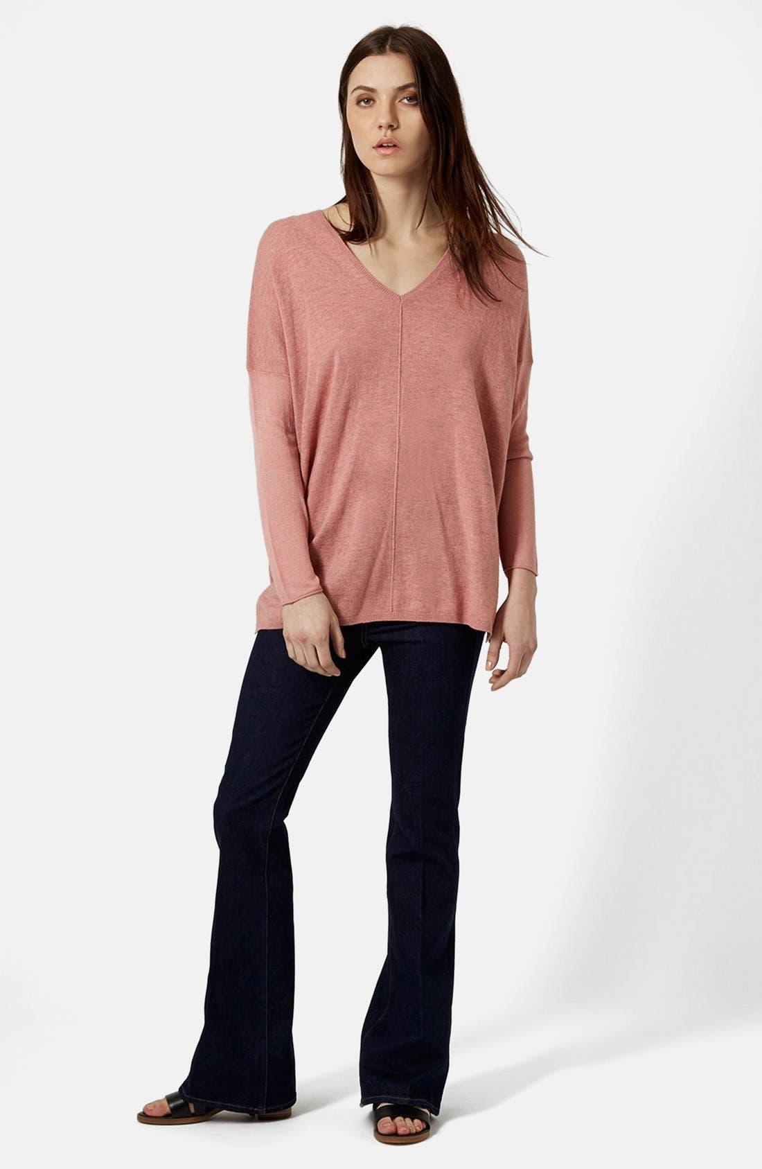 ,                             Front Seam V-Neck Sweater,                             Alternate thumbnail 7, color,                             651