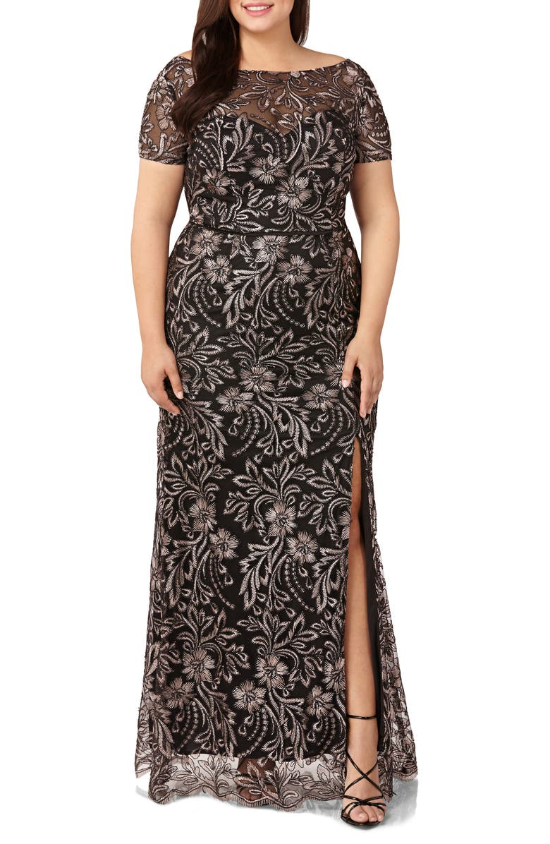JS COLLECTIONS Embroidered Mesh Trumpet Gown, Main, color, SALMON/ BLACK