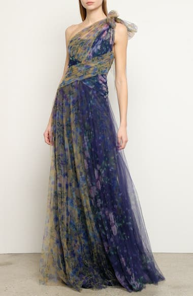 One-Shoulder Floral Tulle Gown, video thumbnail