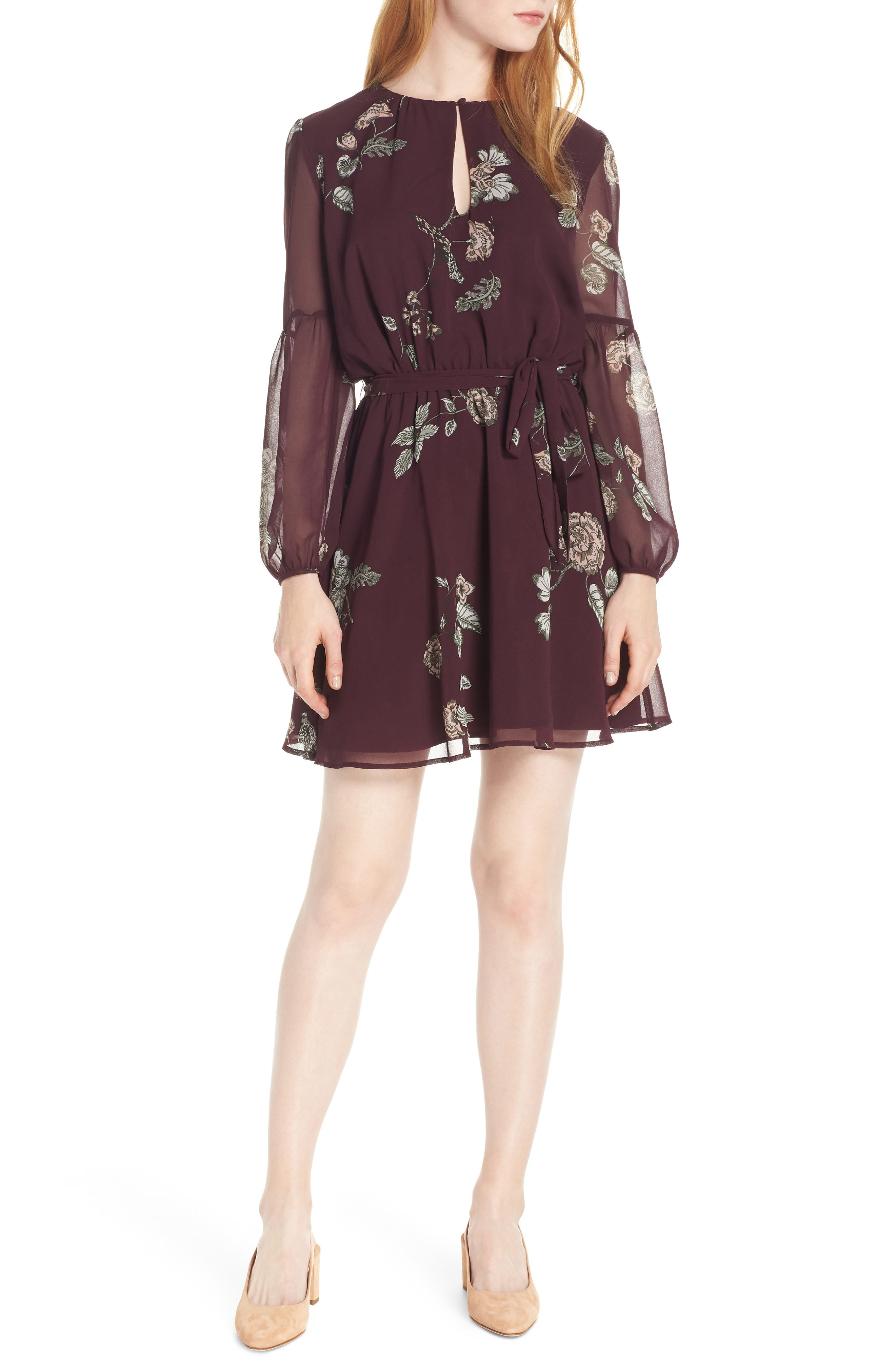 Bb Dakota Winter Rose Chiffon Dress, Burgundy