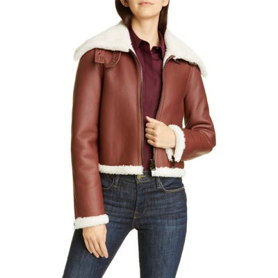 Theory Crop Genuine Shearling Jacket, Brown
