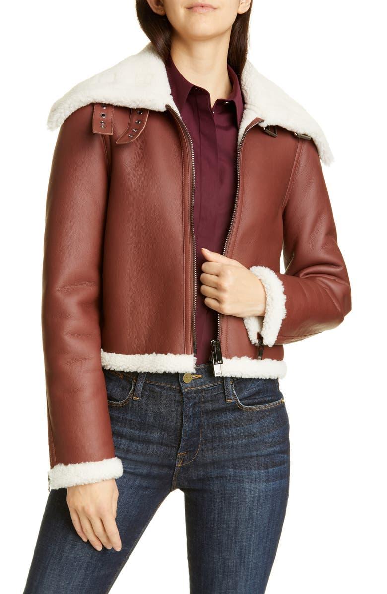 THEORY Crop Genuine Shearling Jacket, Main, color, SEDONA