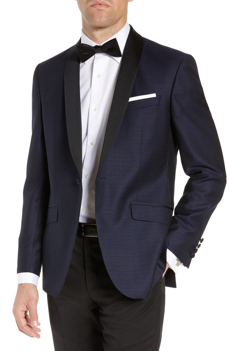 TED BAKER LONDON Josh Trim Fit Wool Dinner Jacket, Main, color, NAVY