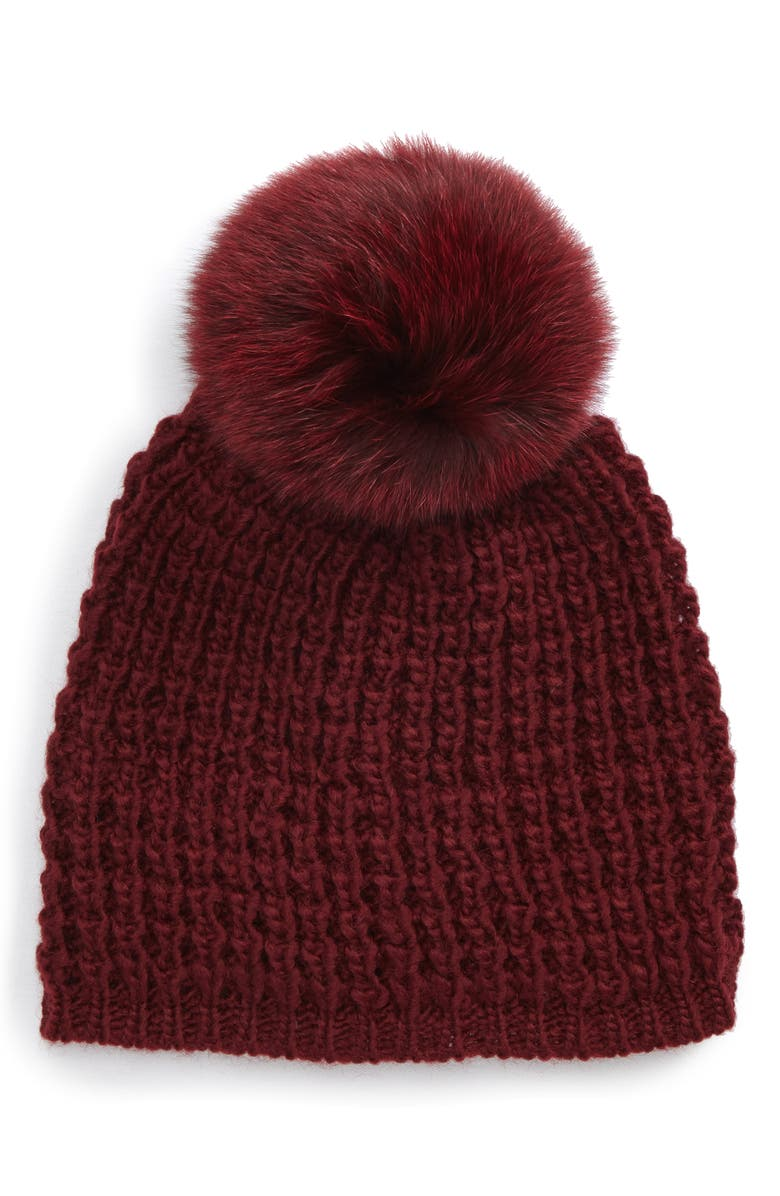 KYI KYI Genuine Fox Pompom Hat, Main, color, BORDEAUX/ BORDEAUX POM