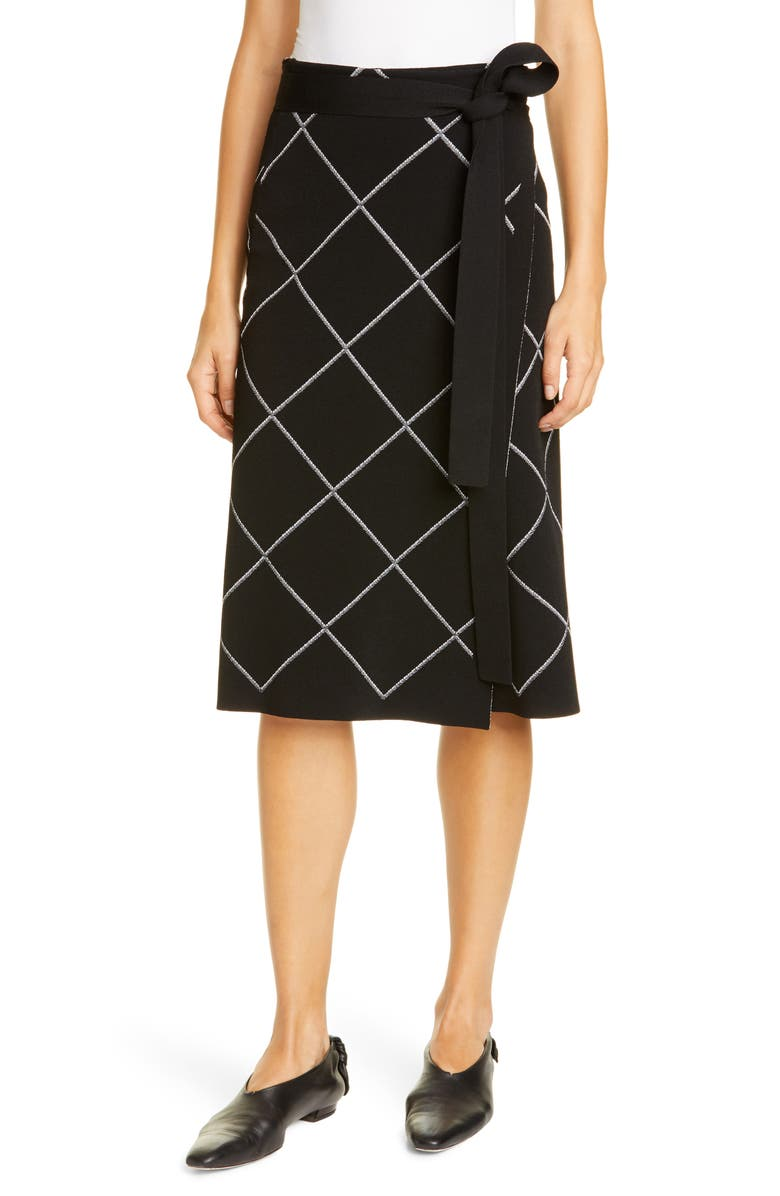 PROENZA SCHOULER Windowpane Check Knit Wrap Skirt, Main, color, BLACK/ OPTIC WHITE