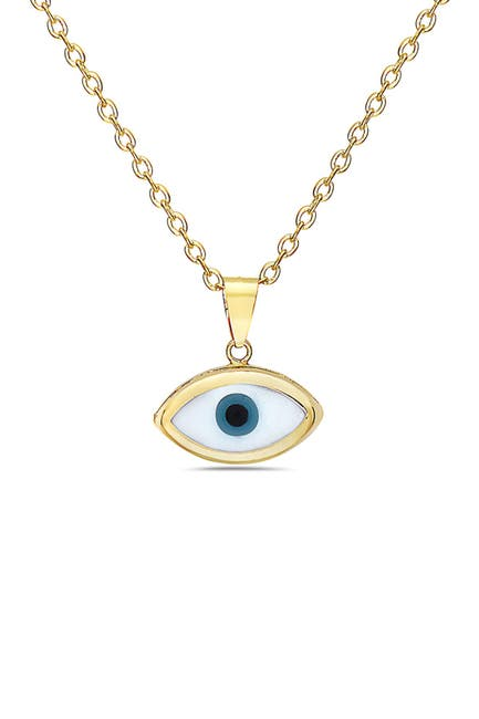 Image of Best Silver Inc. 14K Yellow Gold Evil Eye Pendant Necklace