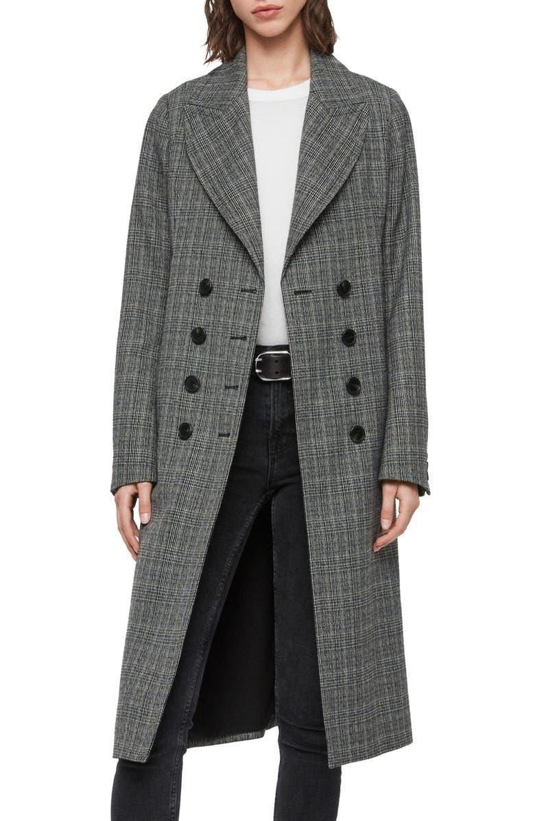 ALLSAINTS Blair Check Wool Blend Coat, Main, color, BLACK