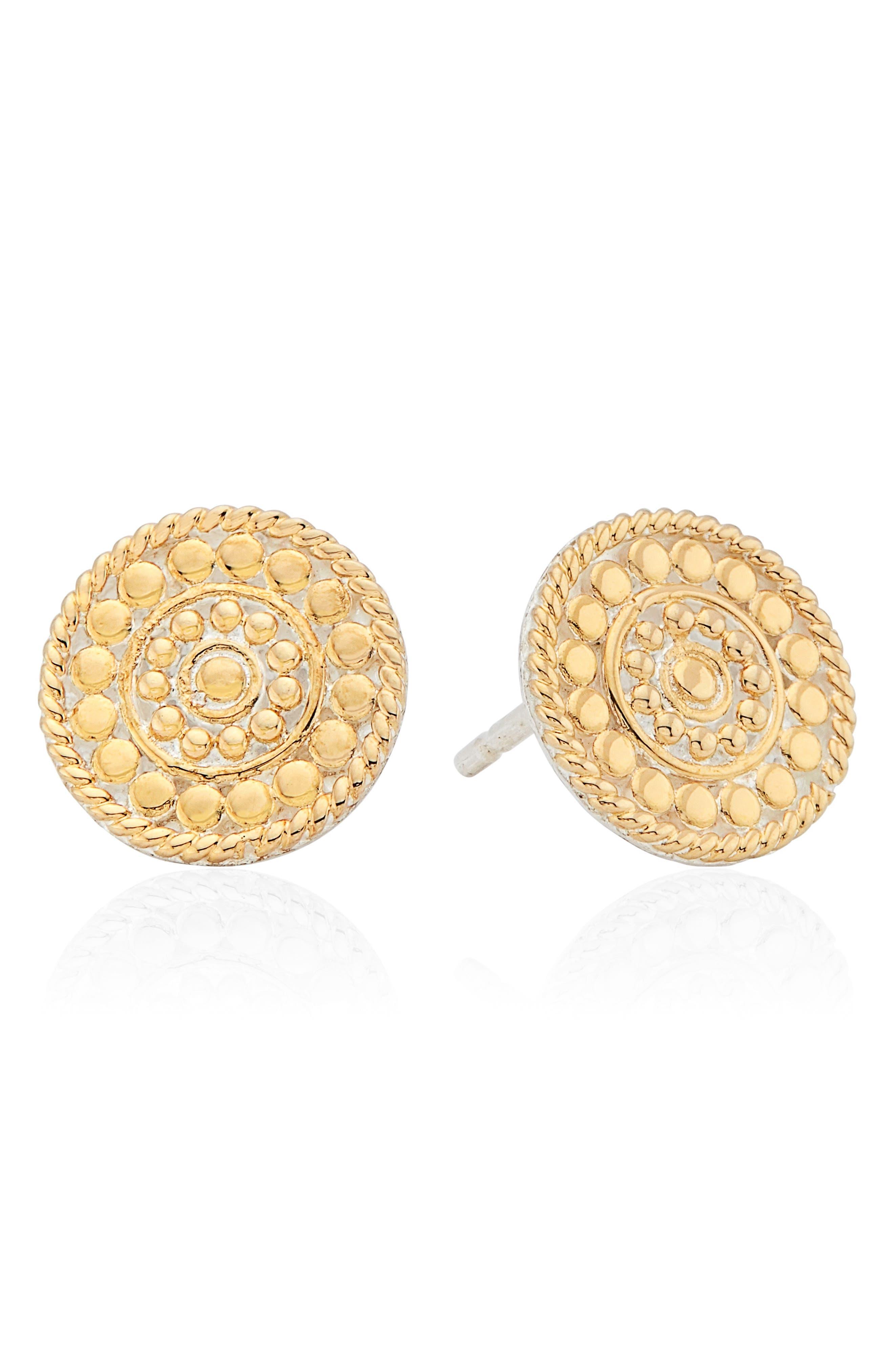 Beaded Coin Stud Earrings