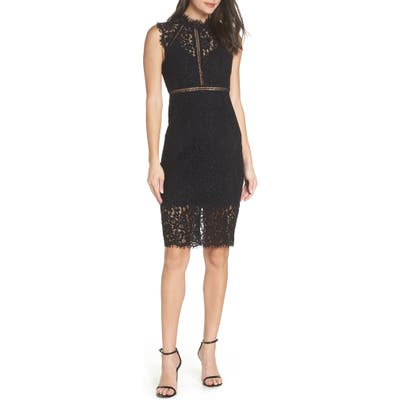 Bardot Lace Sheath Dress, Black