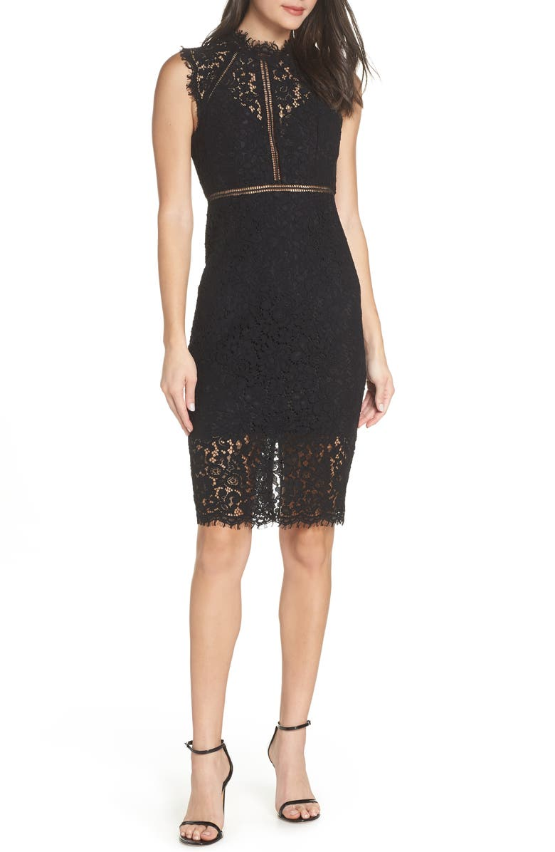 BARDOT Lace Sheath Cocktail Dress, Main, color, BLACK