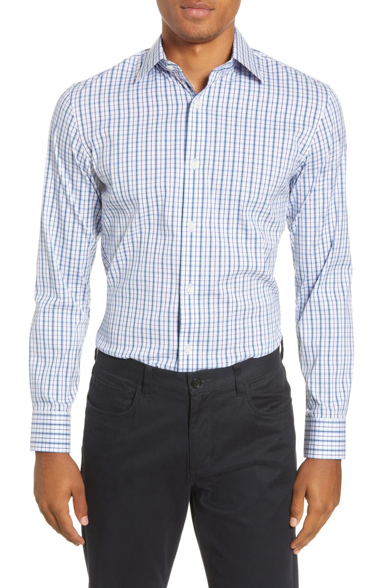 BONOBOS Slim Fit Plaid Stretch Dress Shirt, Main, color, WOOLCHEST PLAID - CORNFLOWER