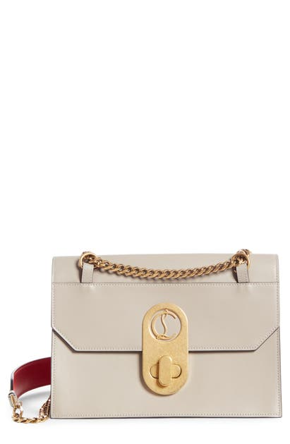 Christian Louboutin LARGE ELISA CALFSKIN LEATHER SHOULDER BAG - GREY