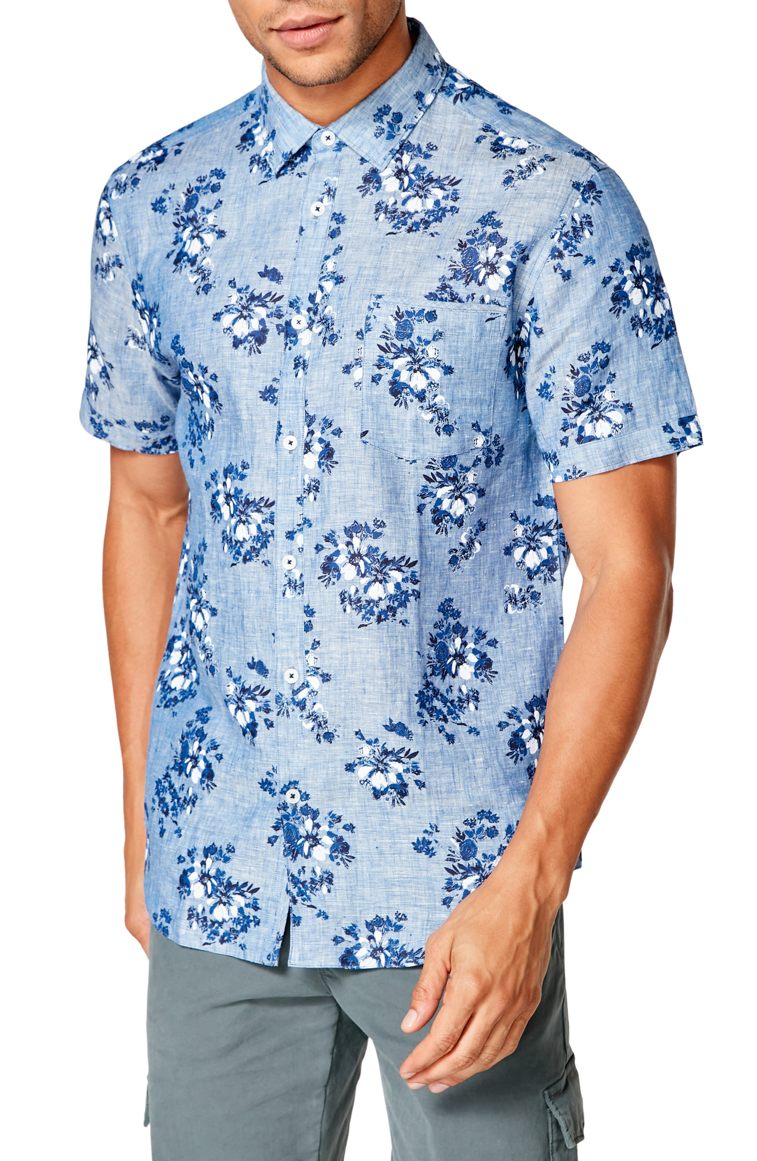A handsome floral print scatters in a spectrum of blues all over a sport shirt tailored to catch the breezes from soft, lightweight linen. Style Name: Good Man Brand On Point Slim Fit Floral Short Sleeve Linen Button-Up Shirt. Style Number: 5912560. Available in stores.