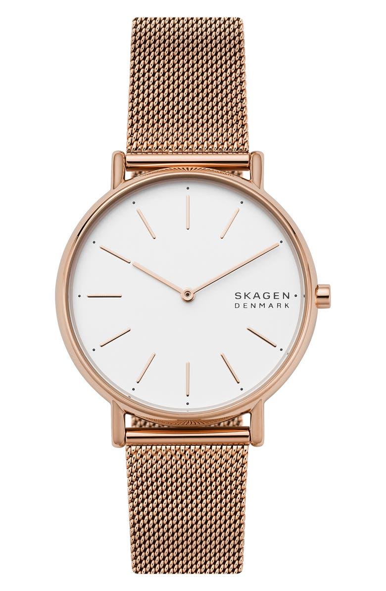 SKAGEN Signatur Mesh Strap Watch, 38mm, Main, color, ROSE GOLD/ WHITE/ ROSE GOLD