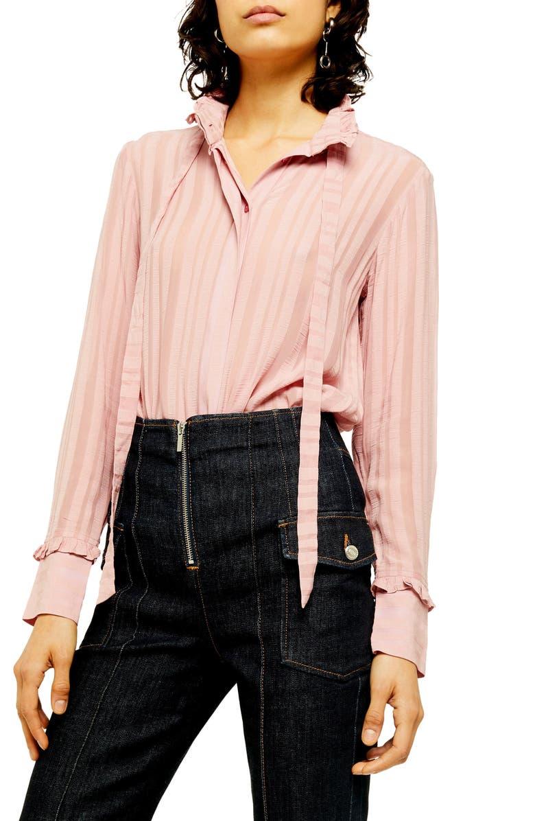 TOPSHOP Self Stripe Blouse, Main, color, 650