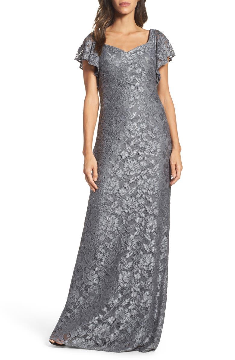LA FEMME Flutter Sleeve Lace Gown, Main, color, PLATINUM