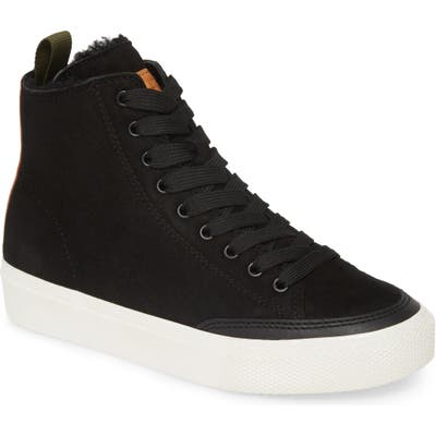 Rag & Bone High Top Sneaker With Genuine Shearling Lining, Black