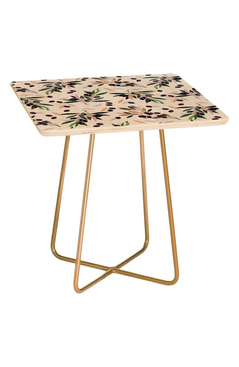 DENY DESIGNS Olivia Sprig Side Table, Main, color, BLACK