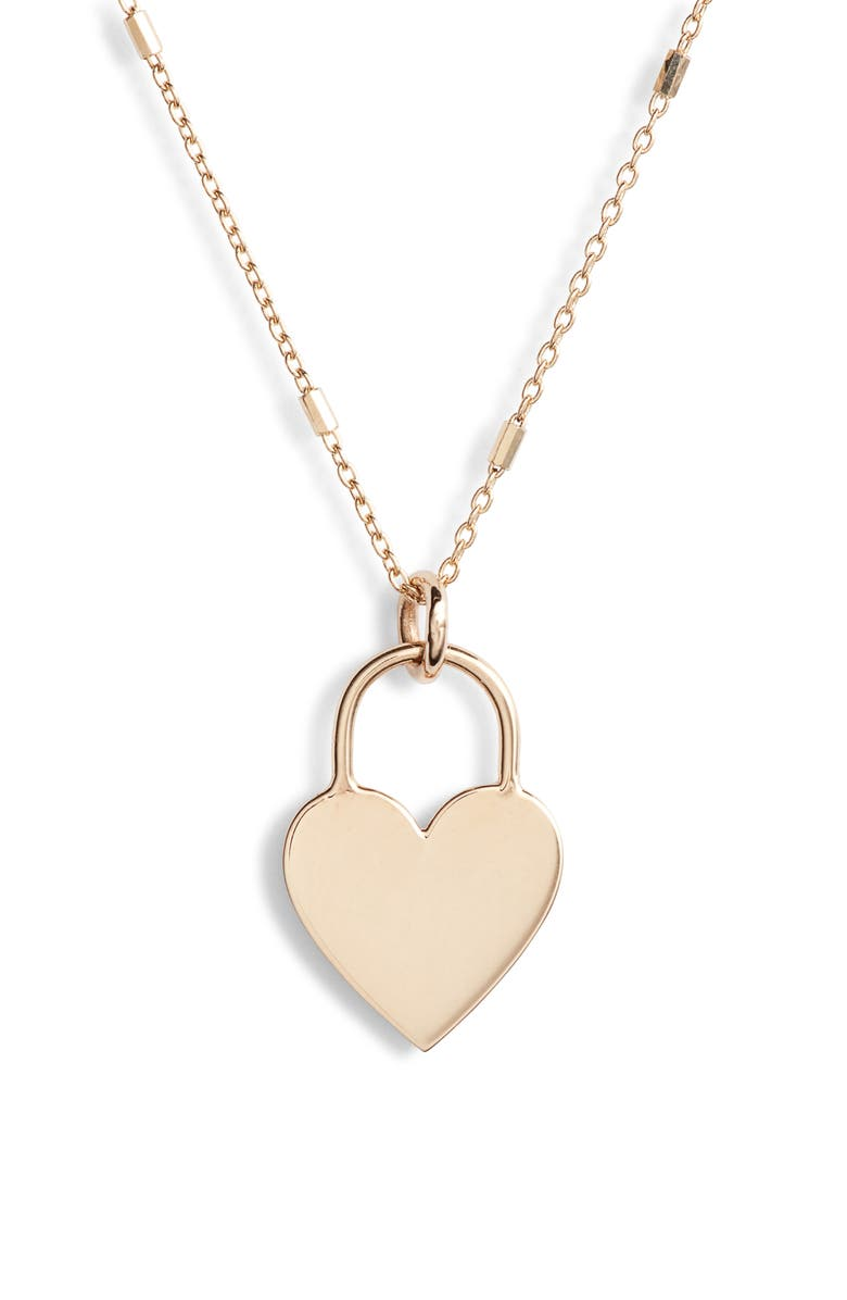 ZOË CHICCO Small Heart Padlock Necklace, Main, color, YELLOW GOLD/ DIAMOND