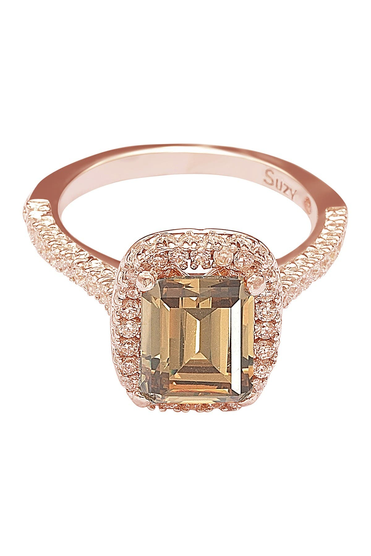 Image of Suzy Levian Rose Tone Sterling Silver Emerald Cut CZ Ring