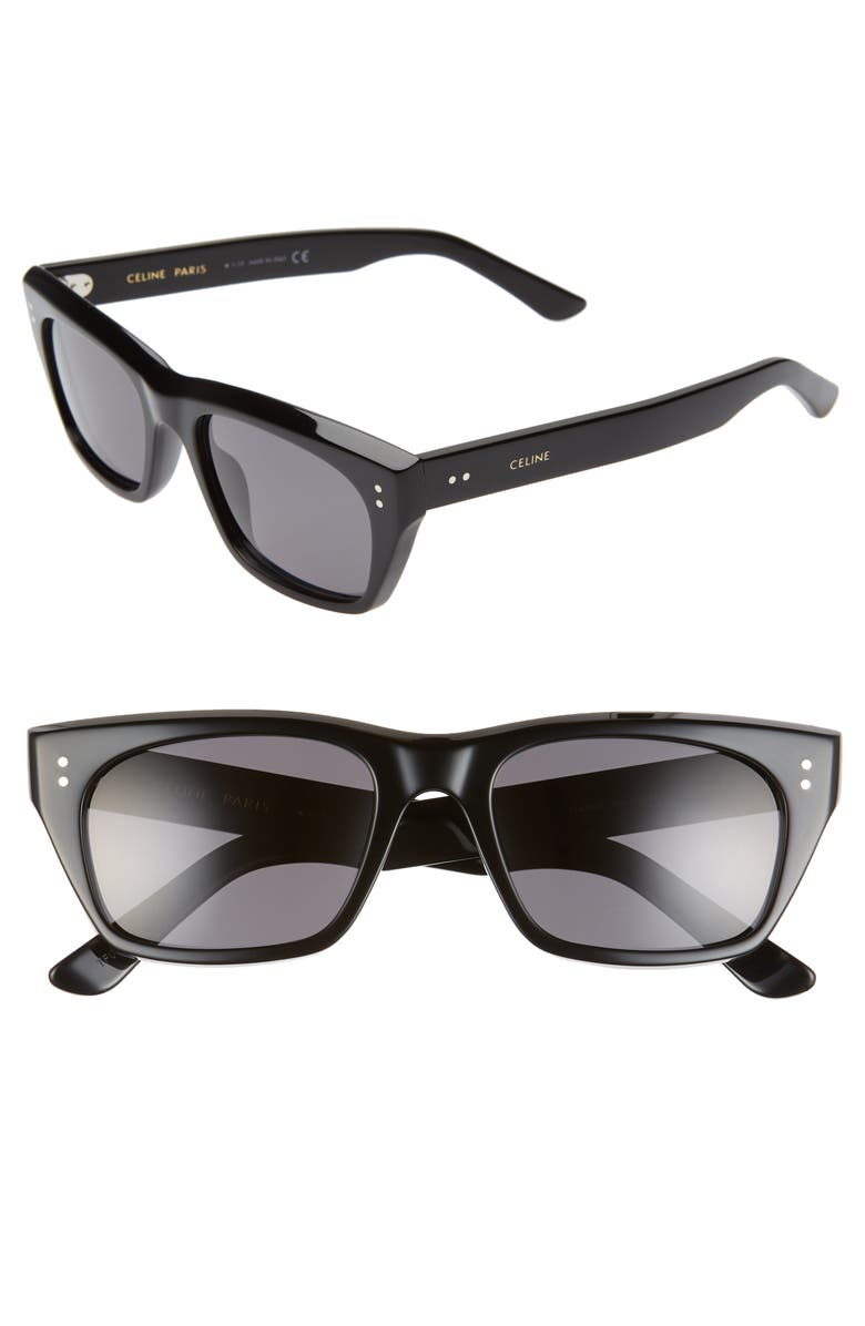 CELINE 53mm Polarized Rectangle Sunglasses, Main, color, SHINY BLACK