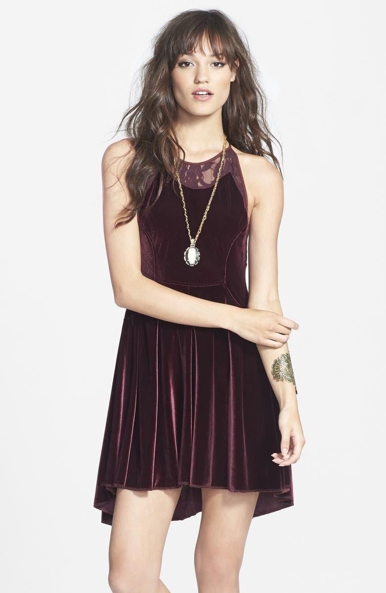 FREE PEOPLE Lace & Velvet Minidress, Main, color, 504