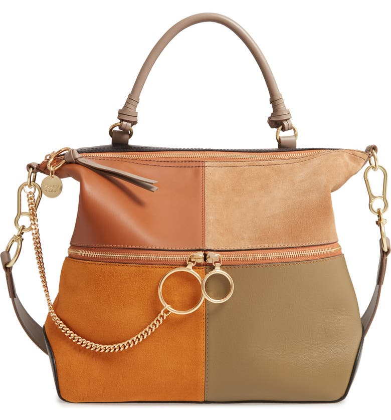 SEE BY CHLOÉ Emy Suede & Leather Satchel, Main, color, LUMINOUS OCHRE