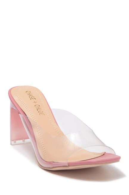 Image of Chase & Chloe Clary Translucent Lucite Block Heel