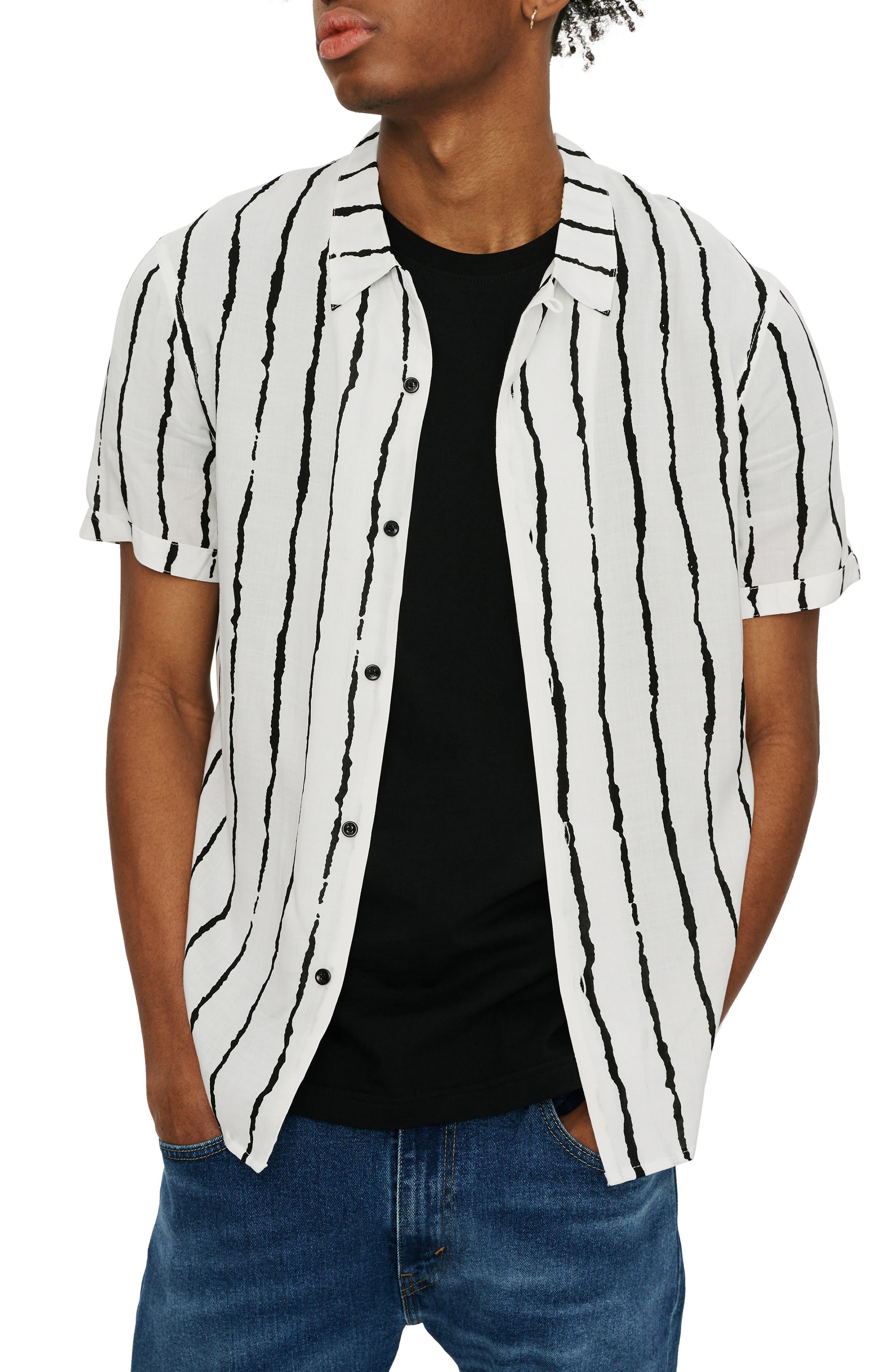 Slim Fit Stripe Short Sleeve Button-Up Shirt