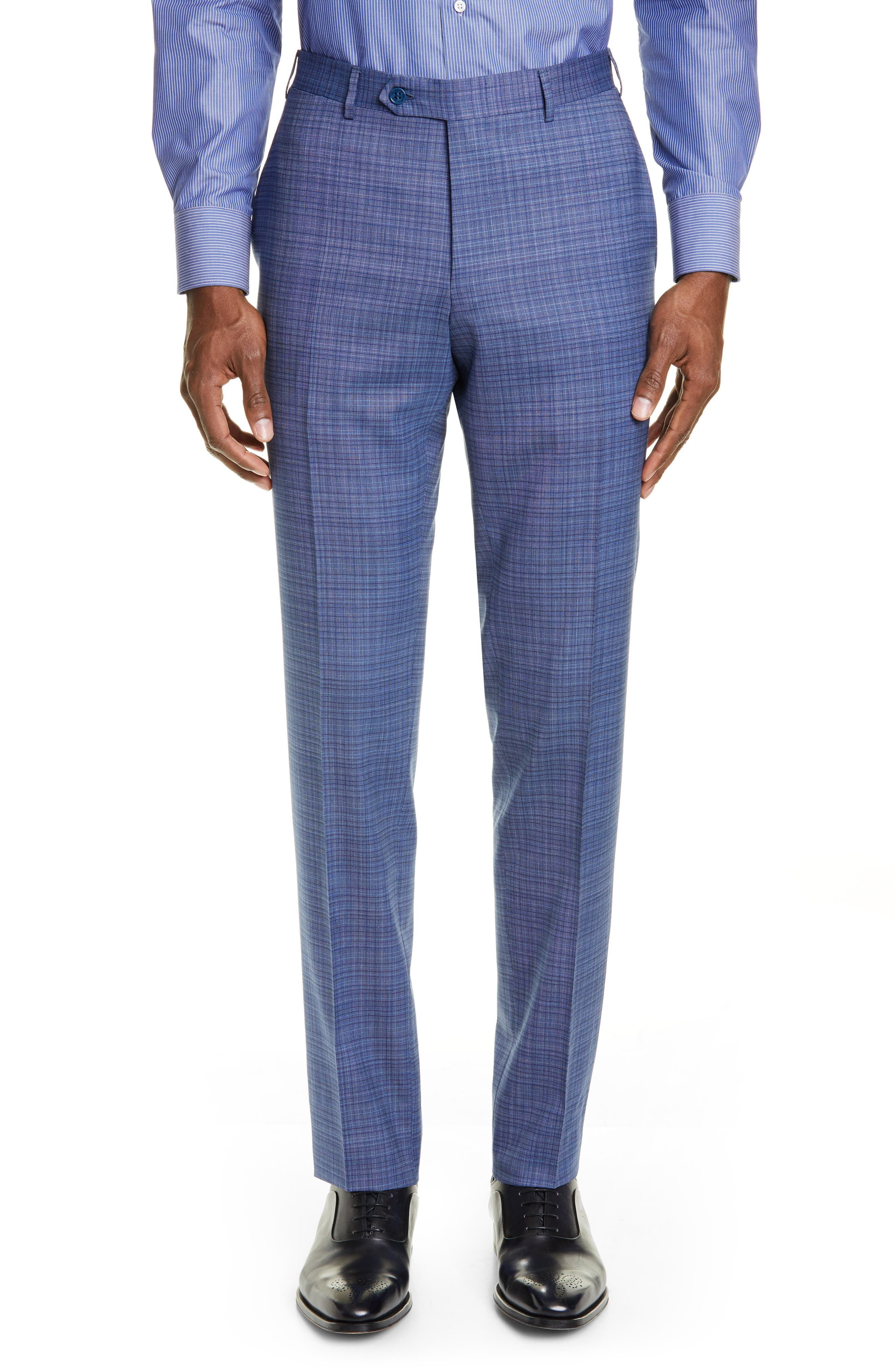 ,                             Milano Classic Fit Check Wool Suit,                             Alternate thumbnail 6, color,                             BLUE