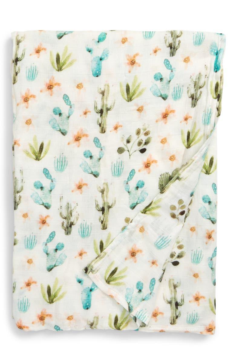 LOULOU LOLLIPOP Cactus Floral Deluxe Muslin Swaddle Blanket, Main, color, CACTUS FLORAL