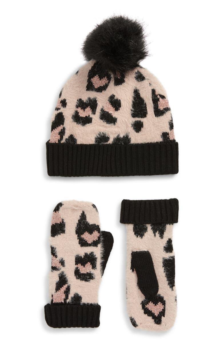 BP. Leopard Embellished Pompom Beanie & Mittens Set, Main, color, BLACK COMBO