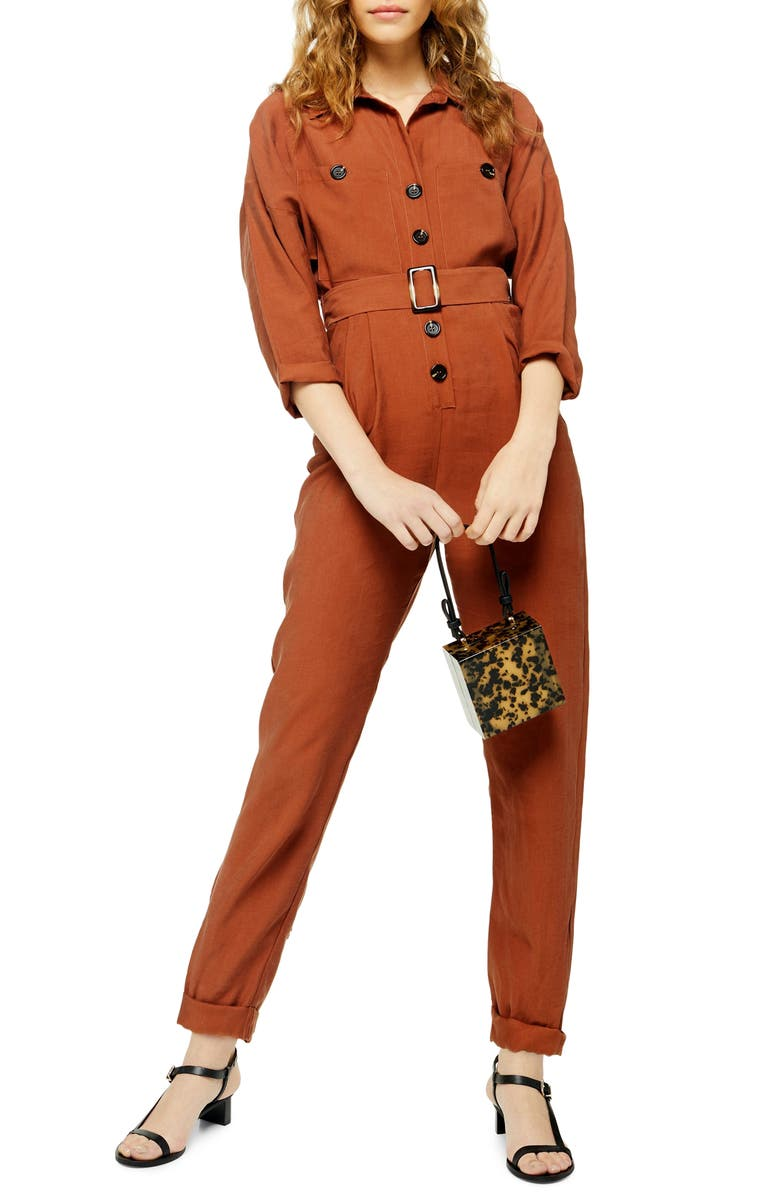 TOPSHOP Belted Boilersuit, Main, color, RUST