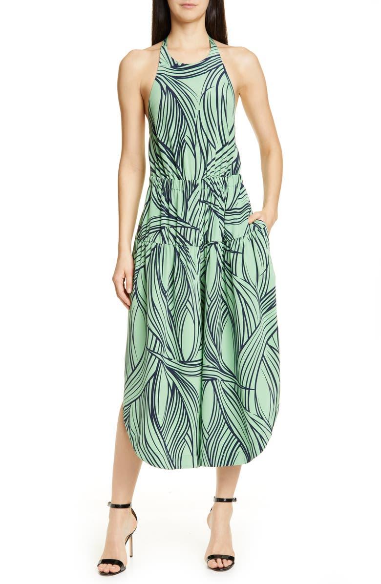 TIBI Zebra Print Halter Silk Dress, Main, color, MINT MULTI