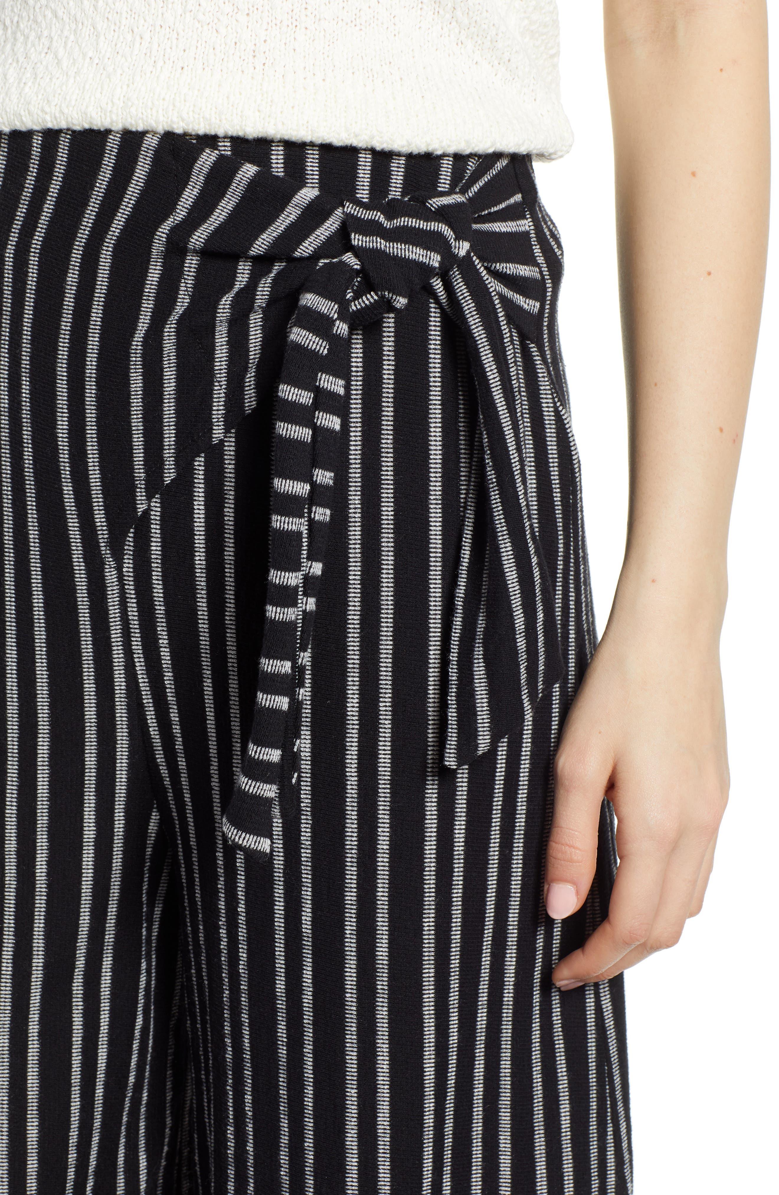 ,                             Tie Waist Stripe Wide Leg Crop Pants,                             Alternate thumbnail 5, color,                             BLACK WHITE STRIPE
