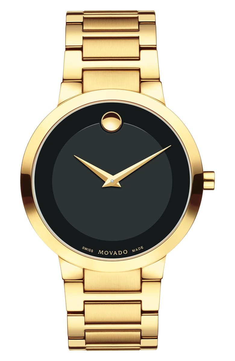 MOVADO Modern Classic Bracelet Watch, 39mm, Main, color, GOLD/ BLACK/ GOLD