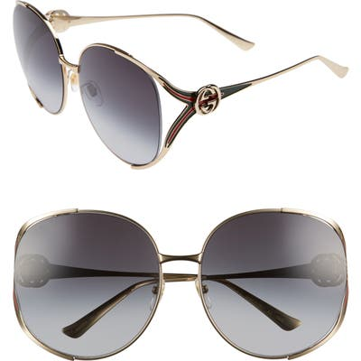 Gucci 6m Gradient Oversize Open Temple Round Sunglasses - Gold/ Red/ Grey