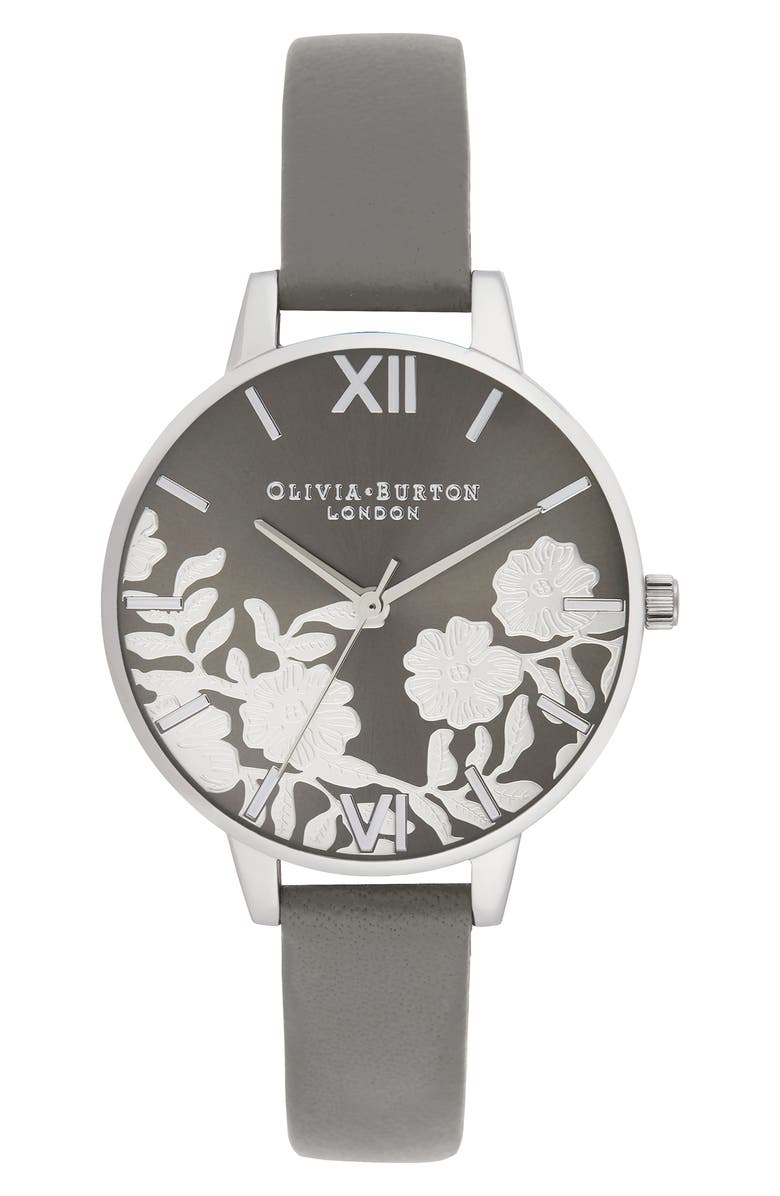 OLIVIA BURTON Lace Leather Strap Watch, 34mm, Main, color, DARK GREY/ FLORAL/ SILVER