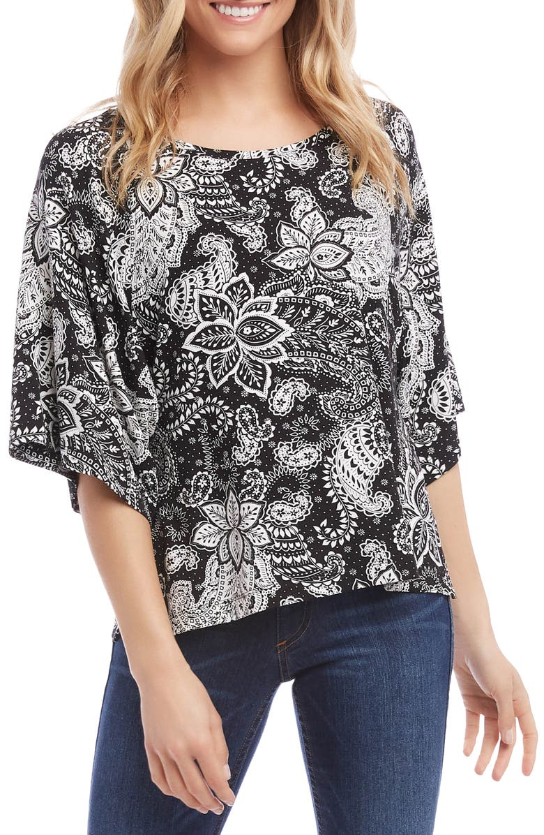 KAREN KANE Paisley Print Bell Sleeve Top, Main, color, BLACK