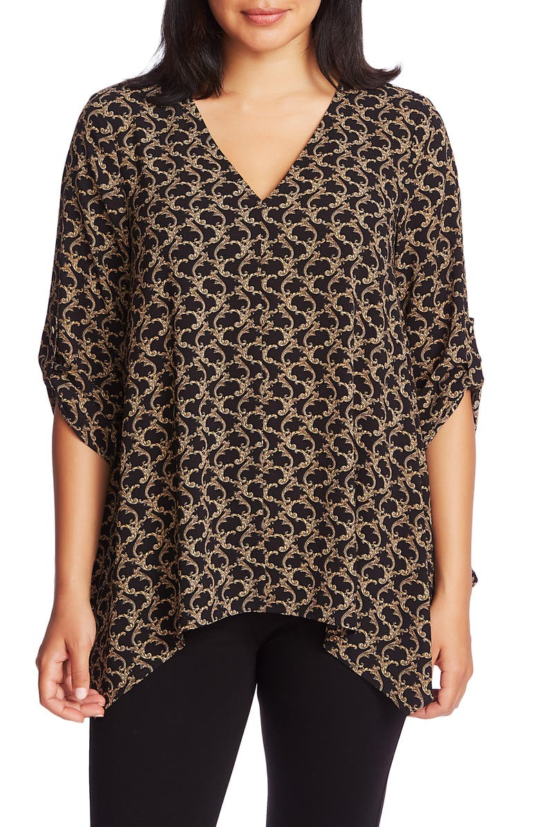 CHAUS Guilded Scroll Print Roll Tab V-Neck Blouse, Main, color, RICH BLACK