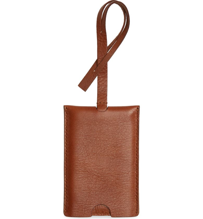 MADEWELL The Leather Luggage Tag, Main, color, ENGLISH SADDLE