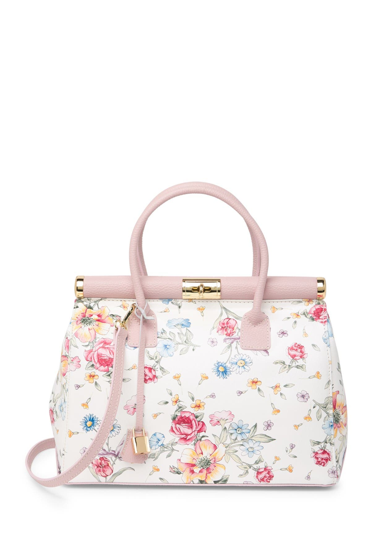 Image of Renata Corsi Floral Leather Shoulder Bag