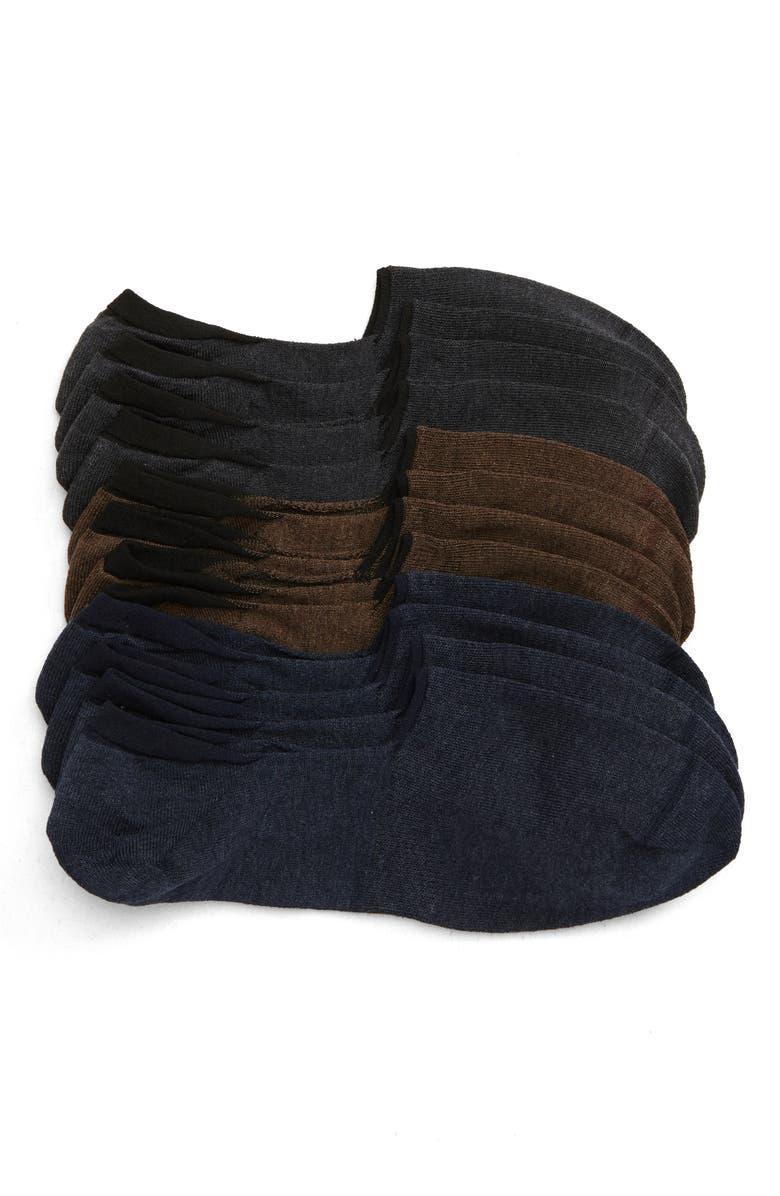 NORDSTROM MEN'S SHOP 6-Pack Liner Socks, Main, color, NAVY/ GREY/ BROWN