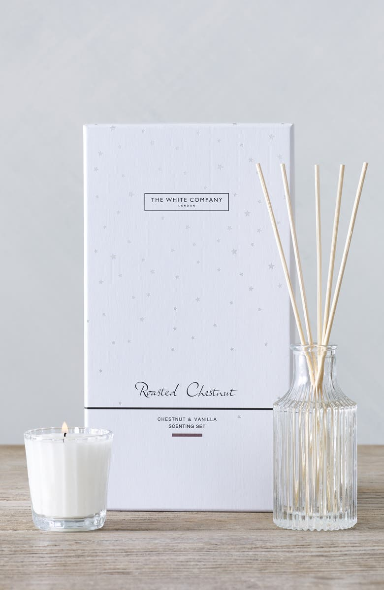 THE WHITE COMPANY Roasted Chesnut Candle & Reed Diffuser Set, Main, color, WHITE