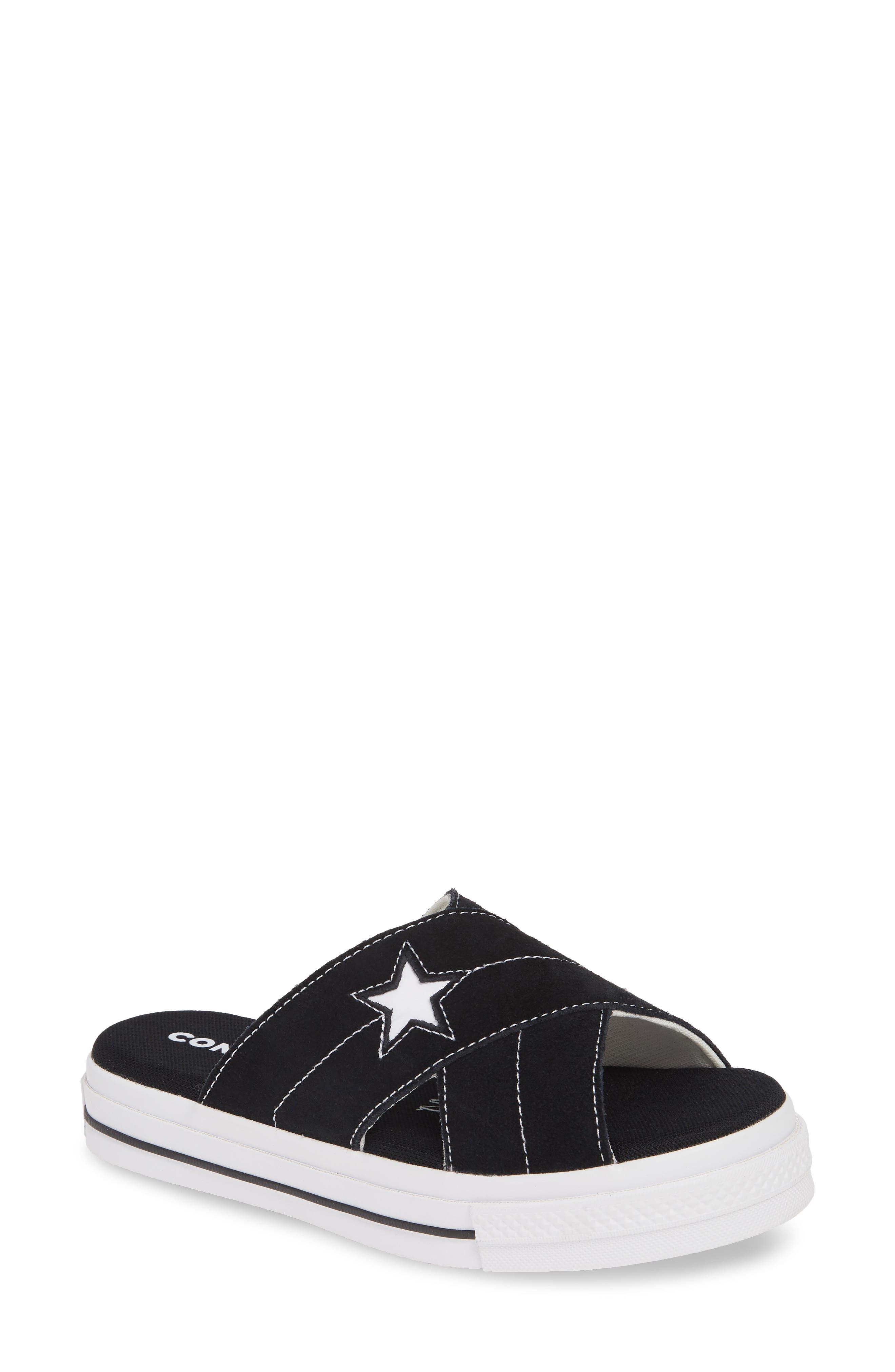 ,                             One Star Platform Slide Sandal,                             Main thumbnail 1, color,                             BLACK/ EGRET/ WHITE