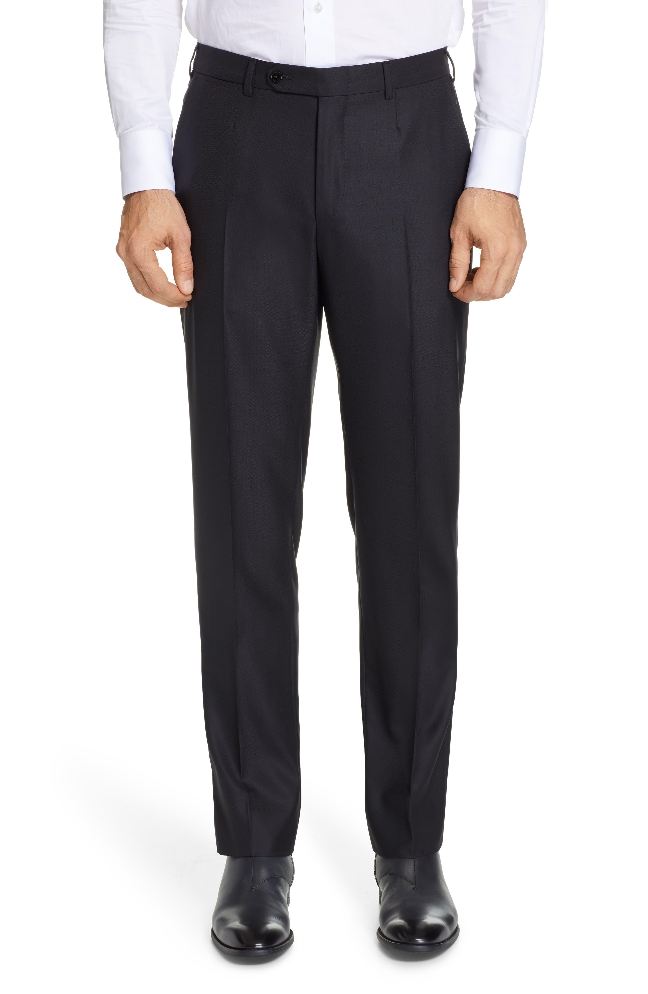 ,                             Classic Fit Plaid Wool Suit,                             Alternate thumbnail 6, color,                             BLACK